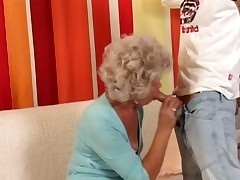 Granny in Glasses Fucks the Boy