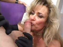 Granny sucks on a cig and a cock