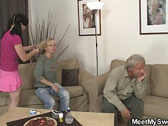 GF have fun with her BF's mom and dad