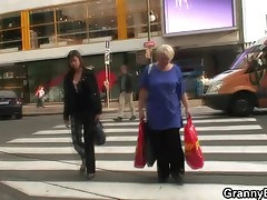 Granny gets screwed by young guy after shopping