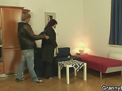 Huge titted mature fattie is picked up and screwed
