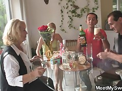 Threesome orgy with her BF's mom and dad