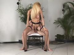 Tranny Reneta Erect while Fucked and Cum on Tits