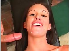 Sexy Brunette DP scene and swallow jizz