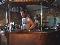 Shemale fucks two guys at the bar