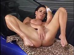 Big boobs wash car