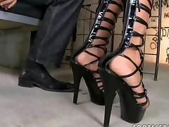 Brunette Giving Footjob And Getting Anal Fucked