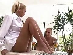 Petite Teen Rubbing Her Sheer To Waist Pantyhose
