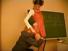 Old Math Teacher Punishes Lame Schoolgirl