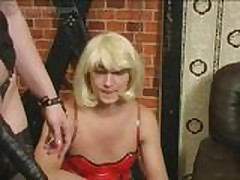 Mistress Crossdresses Two Slaves