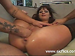 Brutally fisted and gigantic dildo fucked whore