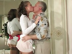 Arousing Russian girl seduced by older guy