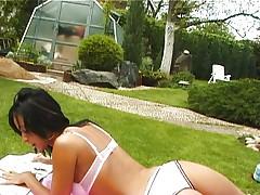 Lesbian orgy in the backyard 1