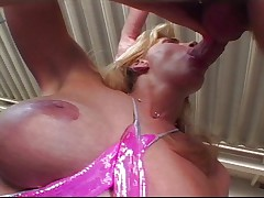 Blonde with big boobs gets ass checked