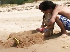 Skinny Asian teen fucked at the beach