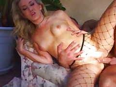 Chick in fishnets licked and fucked
