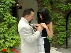 Slutty maid gives boss some head
