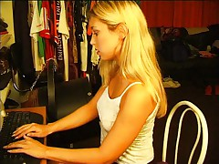 Blonde and her computer