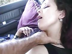 Babe fucked in car POV