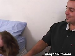 Horny Blonde Housewife Getting Turned Out On A Motel Bed In Front Of Her Husband