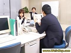 Naughty Japanese Secretary Kissing Her Boss
