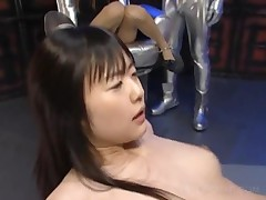 Cute Asian Slaves Sharing Horny Cock On Knees