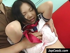 Hot Japanese Slave In Handcuffs Gets Pussy Fingered