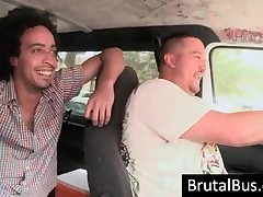Crazy Young Dudes Having Fun In Their Bus