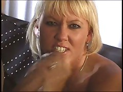 Light-haired Whore Gives A Blowjob To A Guy