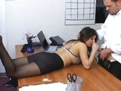 Secretary Sativa Rose in pantyhose fucking on her bosses desk