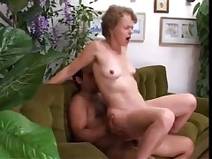 Old skinny granny fucks with young