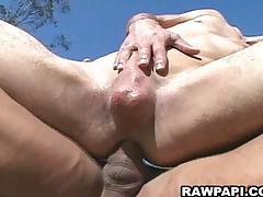 Horny latino anal barebacking action
