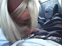 Blonde Schoolgirls Goes For A Ride And Sucks His Cock Be