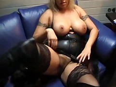 Girl in leather eagerly shows their way piecing together