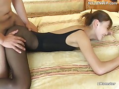 Office scretary fucked in leotard pantyhose