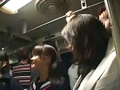 Good friend mother and daughter take a bus11