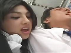 Asian handjob on bus
