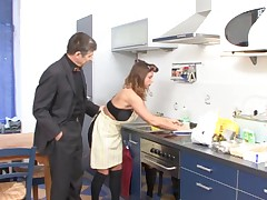 German woman gets fucked in the kitchen in boots