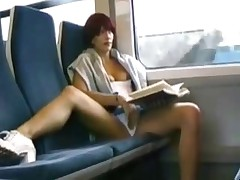 Mastrubating on train while reading a book